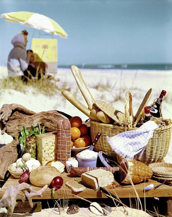 Still Life Art Print featuring the photograph Picnic Display On The Beach by Stan Young