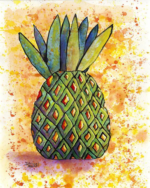 Fruit Art Print featuring the painting Pineapple Fun by Darice Machel McGuire