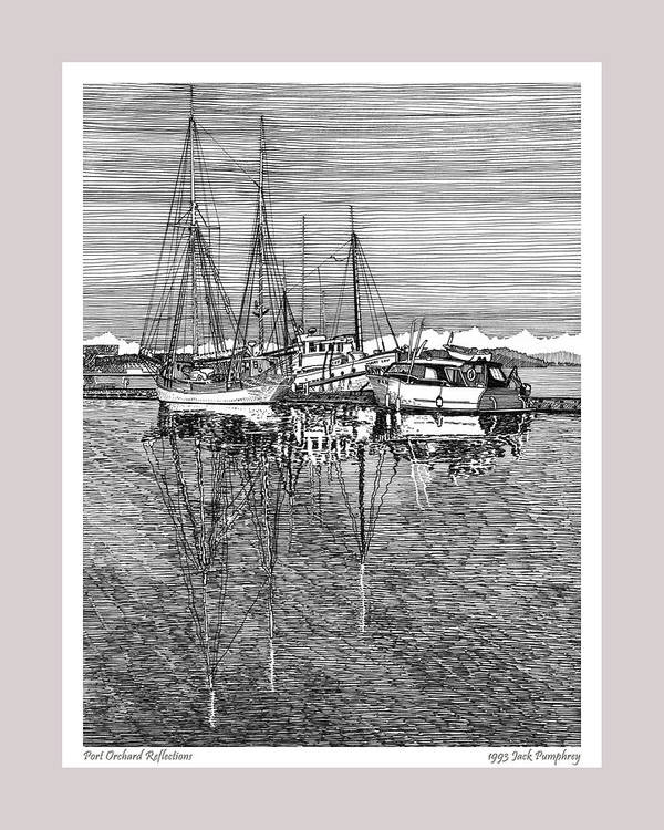 Pen And Ink Drawing Of The Reflections At The Port Orchard Marina Breakwater By Jack Pumphrey Art Print featuring the drawing Reflections Of Port Orchard Washington by Jack Pumphrey
