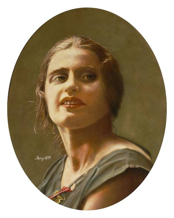 Portrait Of Ayn Rand Art Print featuring the painting Portrait Of Ayn Rand by Robert Tracy