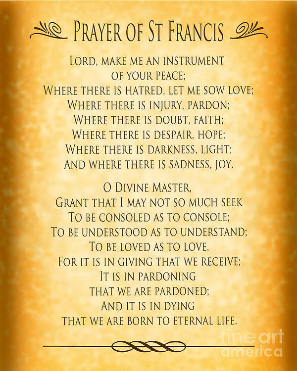 image relating to St Francis Prayer Printable titled Prayer Of St Francis - Pope Francis Prayer - Gold Parchment Artwork Print