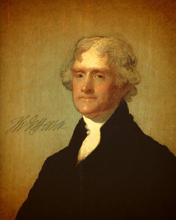 President Thomas Jefferson Portrait Signature Art Print featuring the mixed media President Thomas Jefferson Portrait And Signature by Design Turnpike