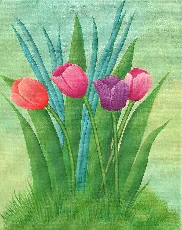 Tulips Art Print featuring the painting Pretty Tulips by Kathy Kirkbride
