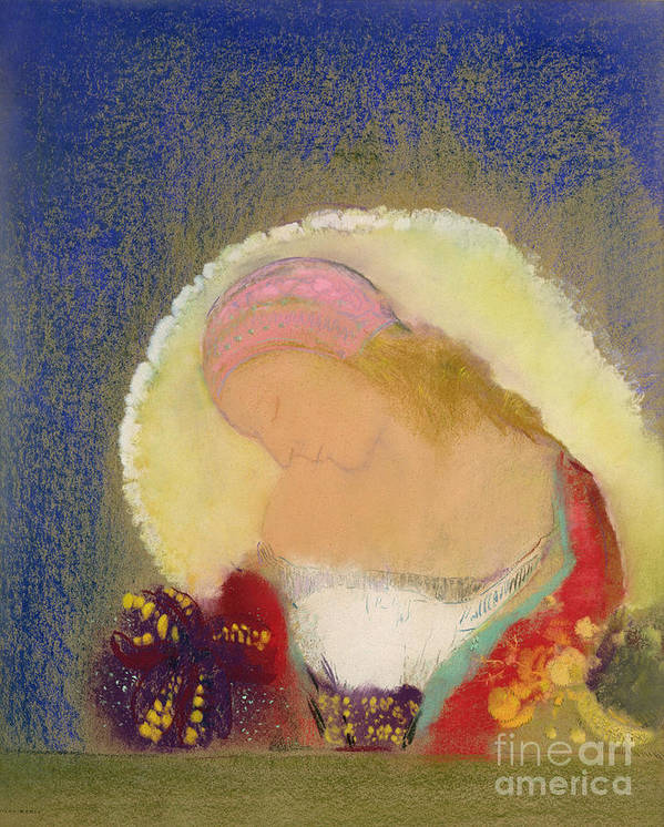 Flower; Hat; Cap; Fleur Illuminee; Symbolist Art Print featuring the painting Profile Of A Girl With Flowers by Odilon Redon
