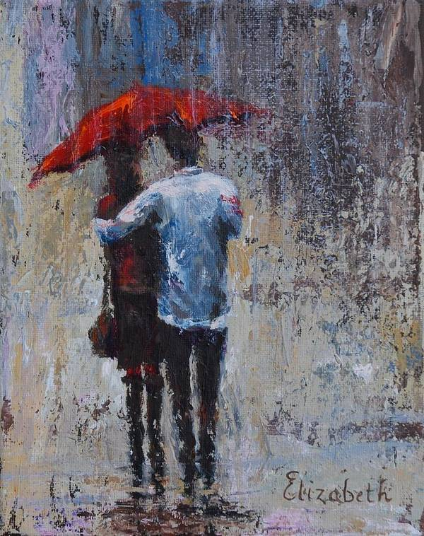 Umbrella Art Print featuring the painting Rain Embrace by Beth Maddox