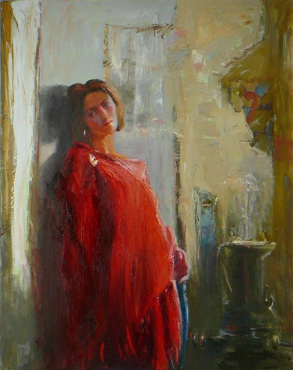 Red Poncho Art Print featuring the painting Red Poncho by Irena Jablonski