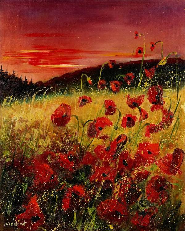 Poppies Art Print featuring the painting Red Poppies And Sunset by Pol Ledent