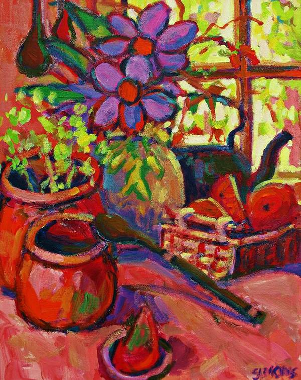 Acrylic Paintings Art Print featuring the painting Red Still Life by Brian Simons