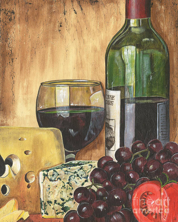 Red Wine Art Print featuring the painting Red Wine And Cheese by Debbie DeWitt