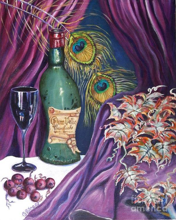 Still-life Art Print featuring the painting Red Wine And Peacock Feathers by Caroline Street