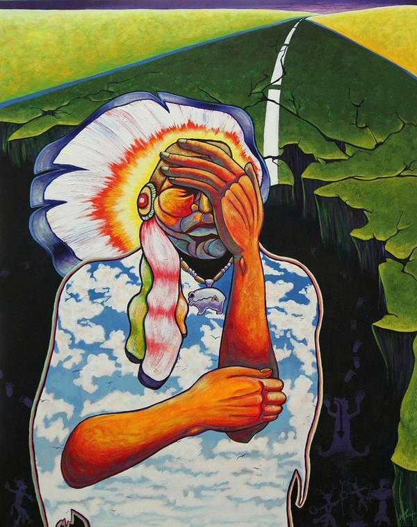 American Indian Art Print featuring the painting Release Me by Joe Triano
