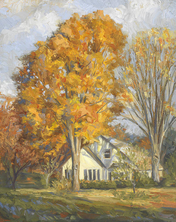 Fall Art Print featuring the painting Restful Autumn by Lucie Bilodeau
