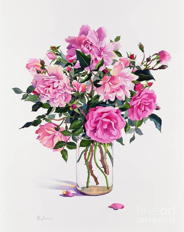 Rose Art Print featuring the painting Roses In A Glass Jar by Christopher Ryland