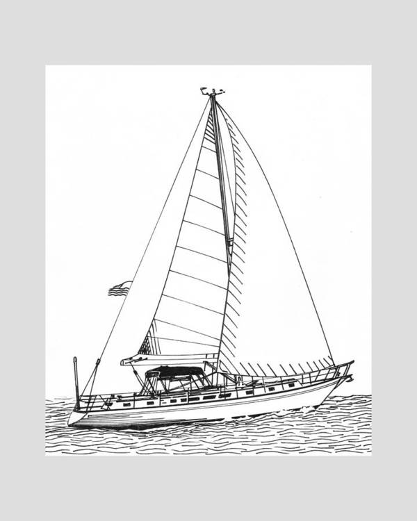 Ink Drawings By Jack Pumphrey Of Yacht Art Print featuring the photograph Sailing Sailing Sailing by Jack Pumphrey