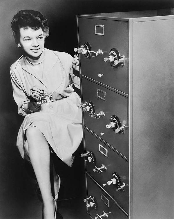 1035-419 Art Print featuring the photograph Secure Filing Cabinet by Underwood Archives