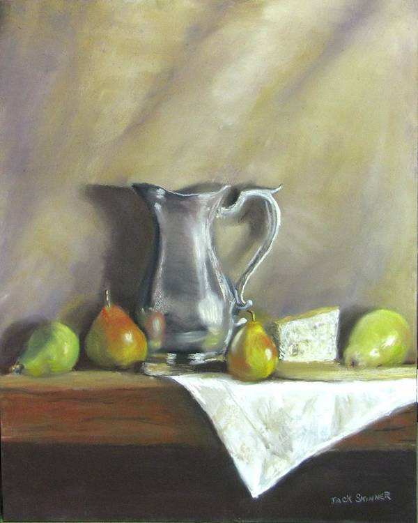 Still Life Art Print featuring the painting Silver Pitcher With Pears by Jack Skinner