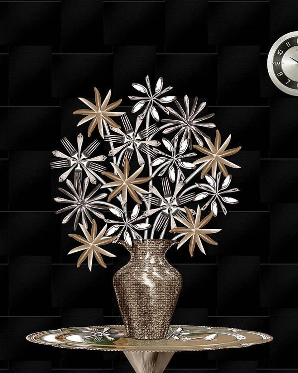 Digital Art Print featuring the digital art Silverware Bouquet by Jerry Gulbransen