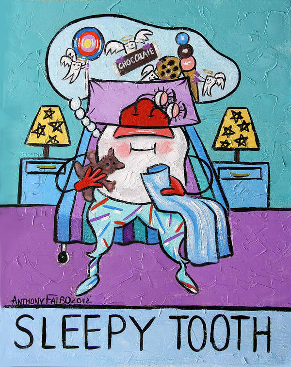Sleepy Tooth Art Print featuring the painting Sleepy Tooth by Anthony Falbo