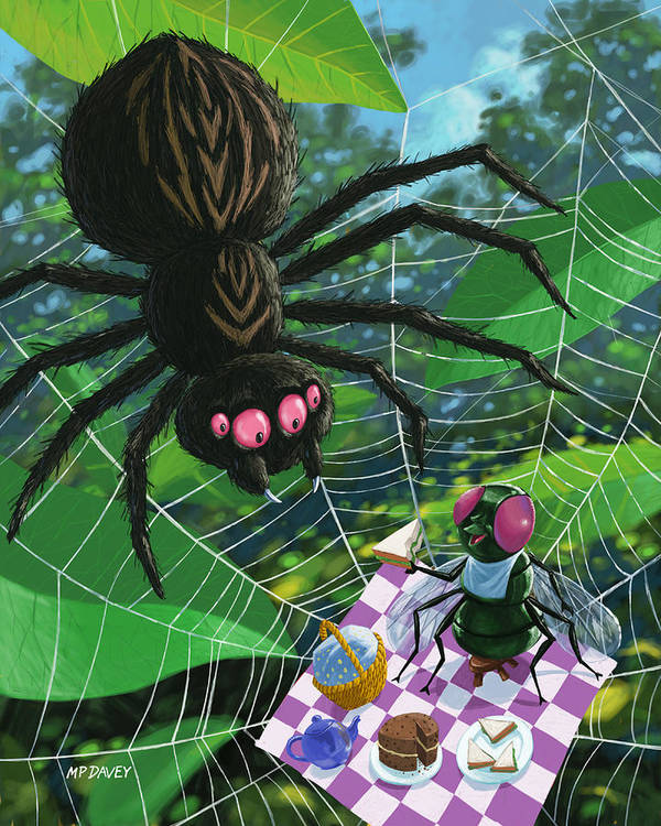 Picnic Art Print featuring the painting Spider Picnic by Martin Davey