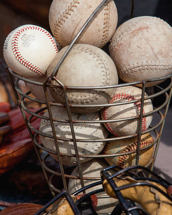 Balls Art Print featuring the photograph Sports - Baseballs And Softballs by Art Block Collections