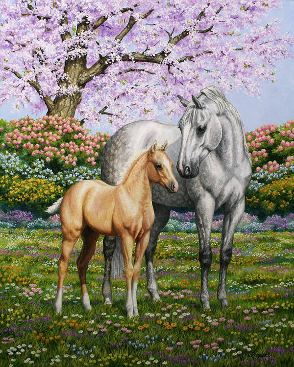 Horse Art Print featuring the painting Spring's Gift - Mare And Foal by Crista Forest