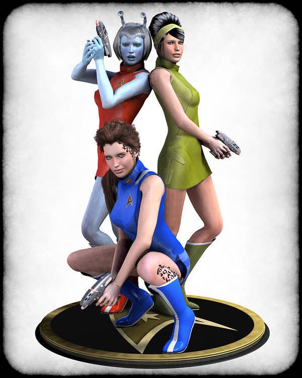 Star Trek Art Print featuring the digital art Star Trek - Kirks Angels by Frederico Borges