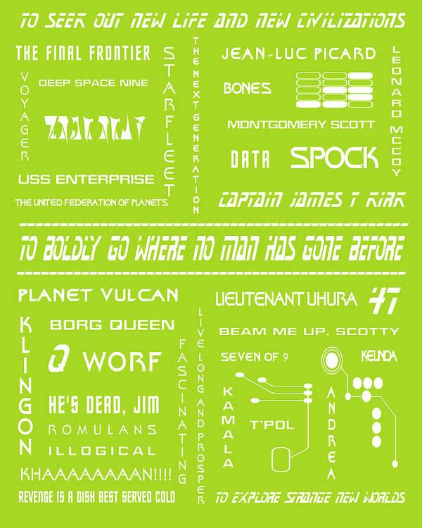 Star Trek Art Print featuring the digital art Star Trek Remembered In Green by Georgia Fowler