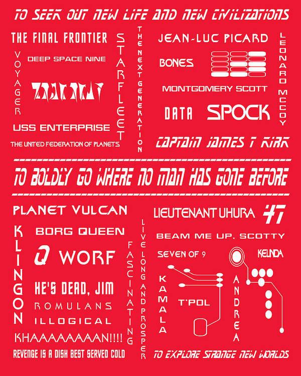 Star Trek Art Print featuring the digital art Star Trek Remembered In Red by Georgia Fowler