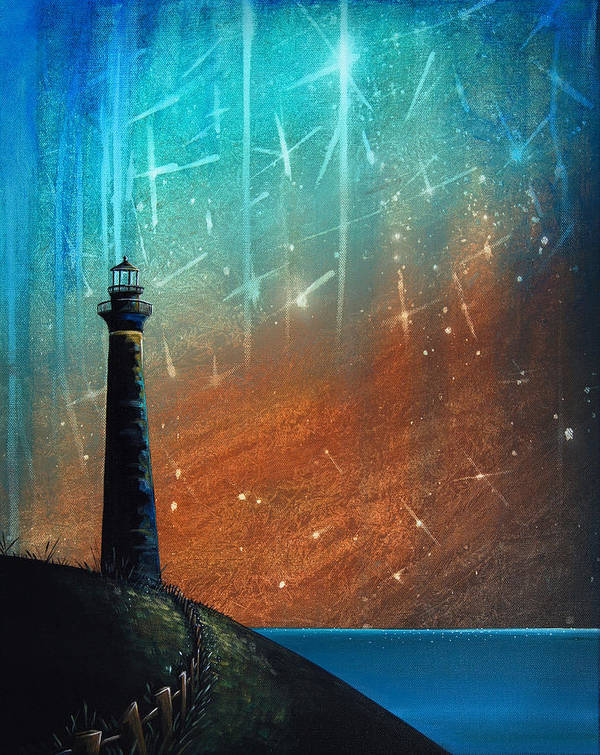 Lighthouse Art Print featuring the painting Such A Night As This by Cindy Thornton