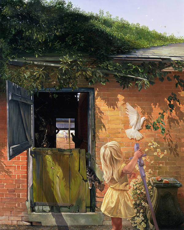 Dove; Michaelmas Daisy; Barn Door; Ivy Art Print featuring the painting Summer Reflection by Timothy Easton