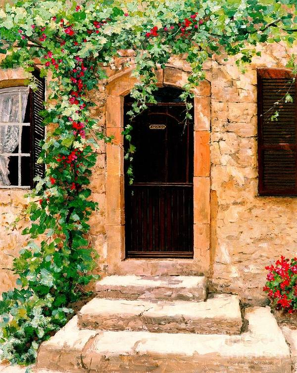 French Door Art Print featuring the painting Sunlight Vines - Oil by Michael Swanson