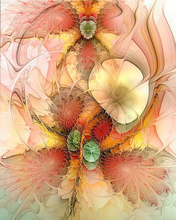 Abstract Art Print featuring the digital art Syncopated Summer Passion by Casey Kotas
