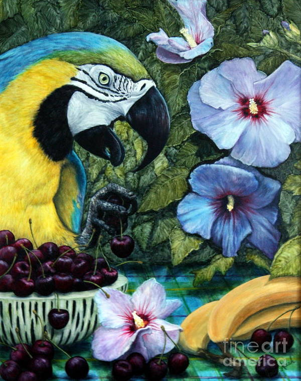 Macaw Art Print featuring the painting Tapestry by Joey Nash