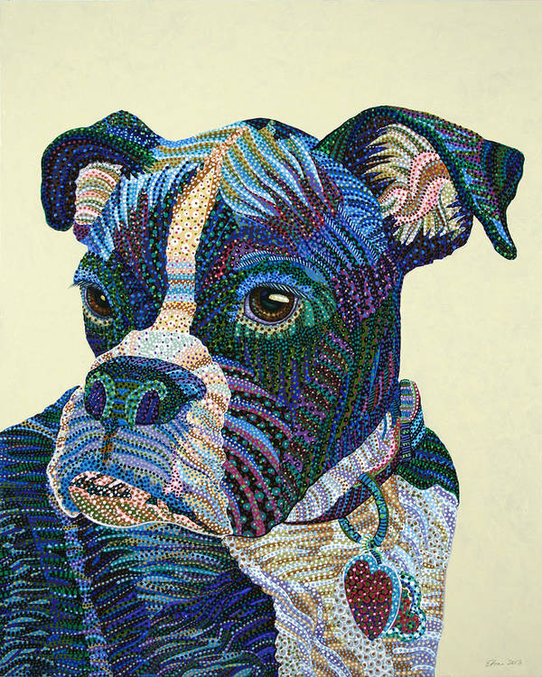Dog Portrait Print featuring the painting Tater - Portrait Of A Boxer by Erika Pochybova
