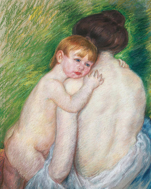 Child Art Print featuring the painting The Bare Back by Mary Cassatt Stevenson