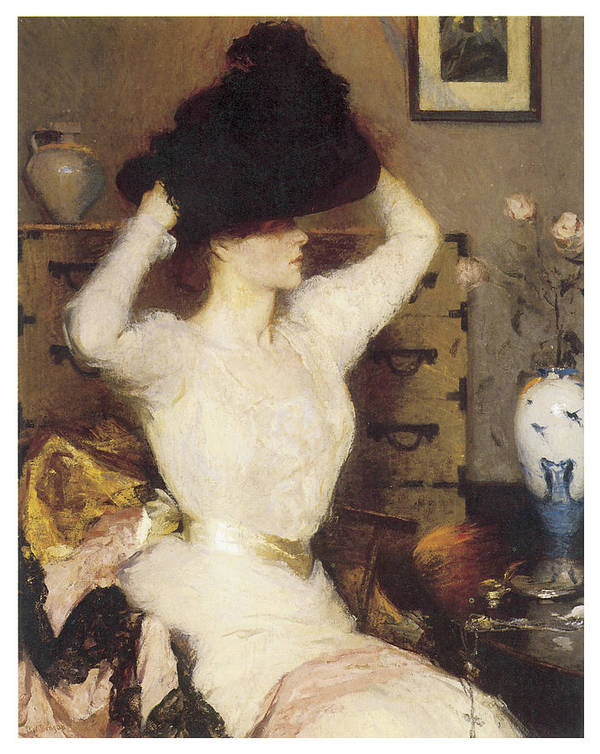 Frank Benson Art Print featuring the painting The Black Hat by Frank Benson