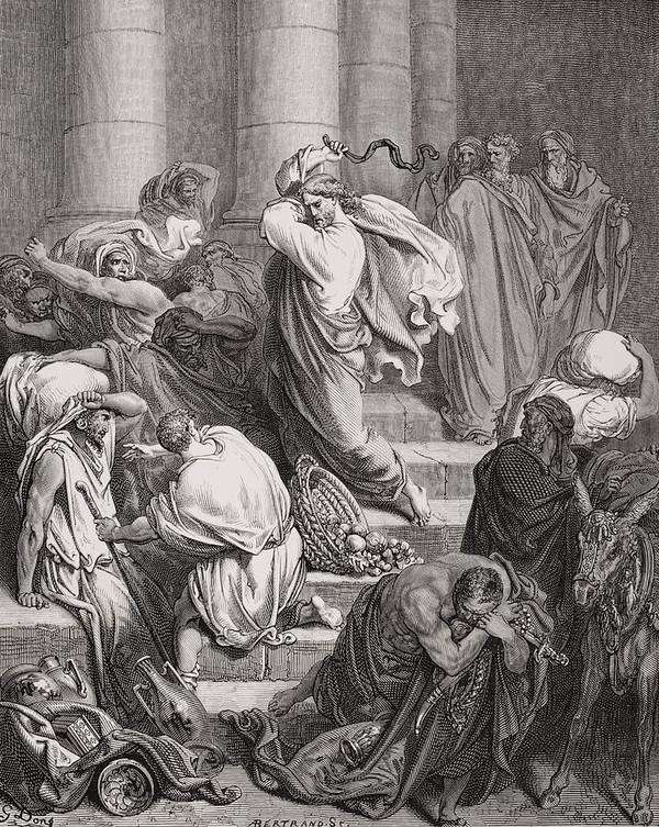 Jesus Art Print featuring the painting The Buyers And Sellers Driven Out Of The Temple by Gustave Dore
