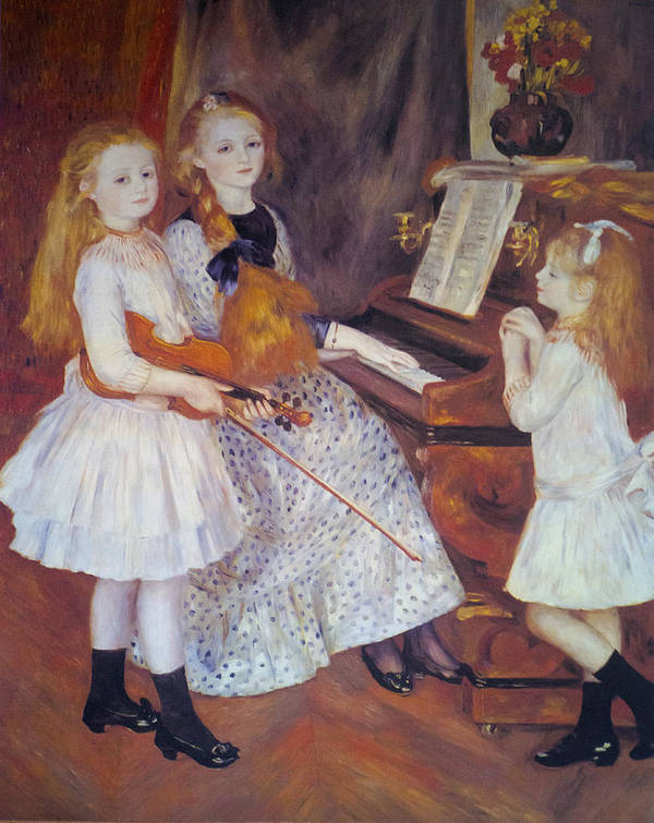 The Daughters Of Catulle Mendes Print featuring the digital art The Daughters Of Catulle Mendes by Pierre Auguste Renoir
