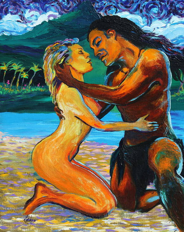 Nude Art Print featuring the painting The First Kiss by Karon Melillo DeVega
