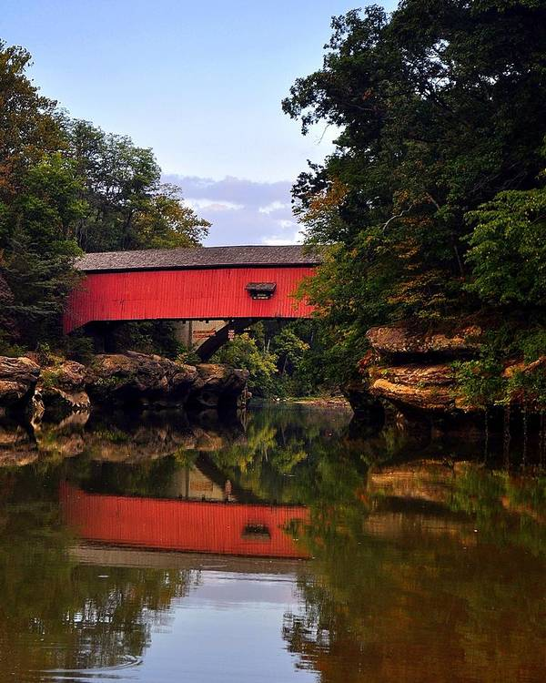 Covered Bridge Art Print featuring the photograph The Narrows Covered Bridge 5 by Marty Koch