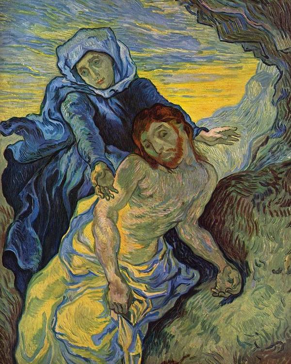 Pieta Art Print featuring the painting The Pieta After Delacroix 1889 by Vincent Van Gogh