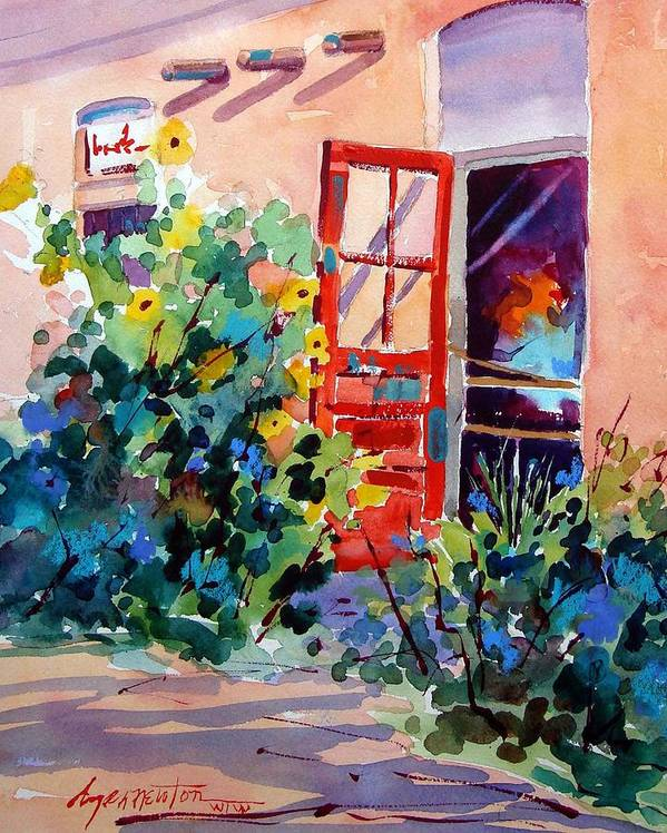 Santa Fe Art Paintings Art Print featuring the painting The Red Door by Dyan Newton