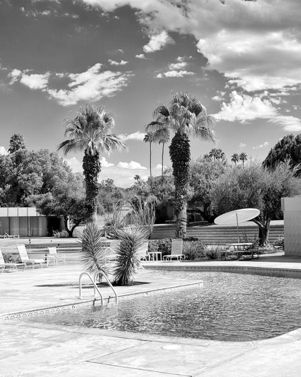 Sandpiper Art Print featuring the photograph The Sandpiper Pool Bw Palm Desert by William Dey