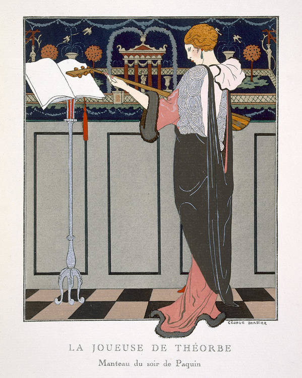 Theorbe Art Print featuring the painting The Theorbo Player by Georges Barbier