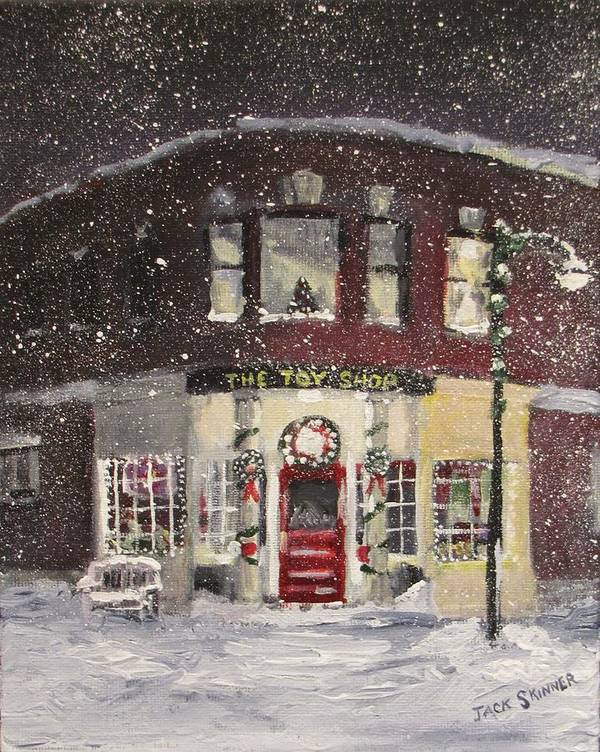 Christmas Art Print featuring the painting The Toy Shop by Jack Skinner