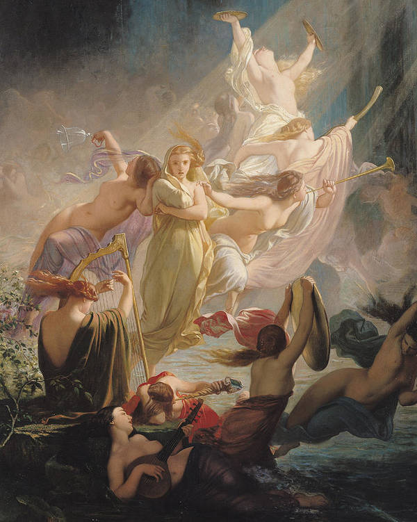 The Undines Or Print featuring the painting The Undines Or The Voice Of The Torrent by Ernest Augustin Gendron