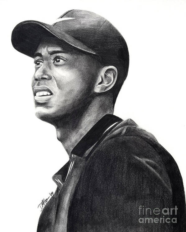 Tiger Woods Print featuring the drawing Tiger Woods Driven by Devin Millington