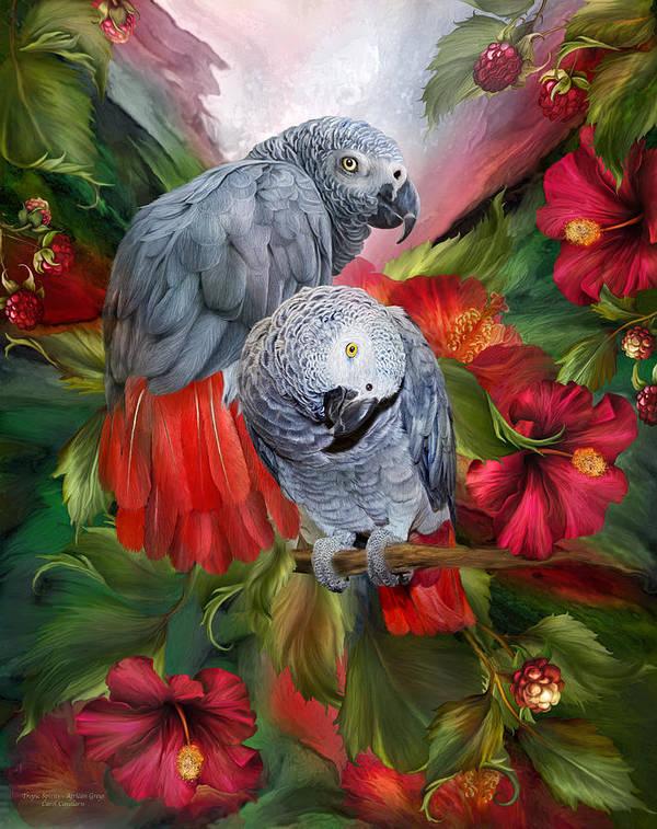 Parrot Art Print featuring the mixed media Tropic Spirits - African Greys by Carol Cavalaris