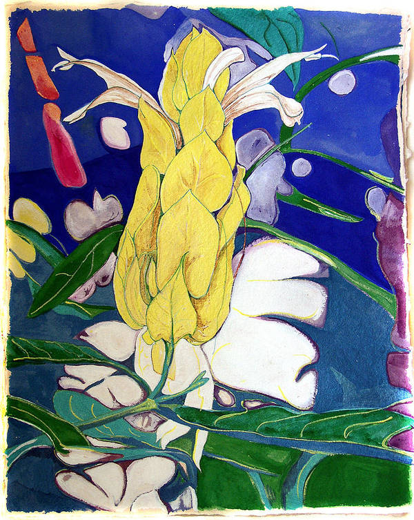 Flower Art Print featuring the painting Tropical Evening by Jamie Downs