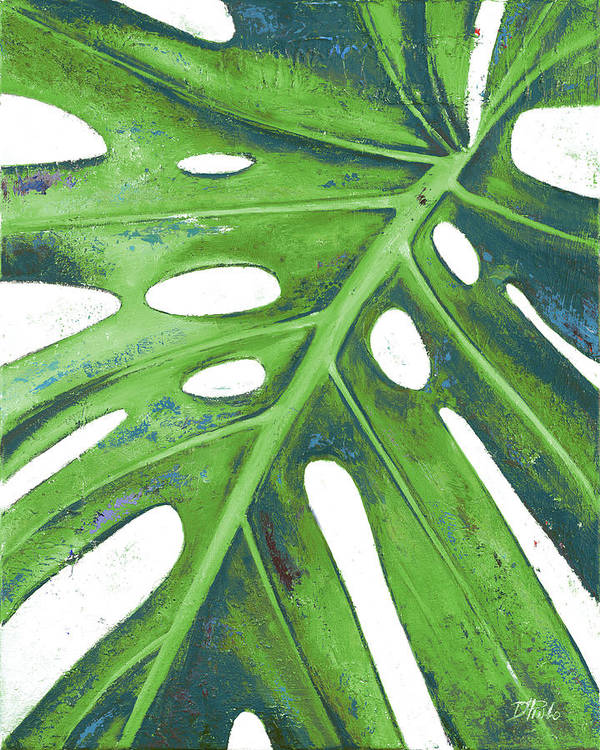 Tropical Art Print featuring the painting Tropical Leaf With Blue I by Patricia Pinto